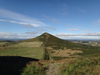 The descent towards Roseberry Topping from Great Ayton Moor.