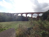 The high railway viaduct above Skelton Beck.