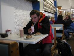 P20031110056	Myself, the rock cake and milkshake in the Clipper Cafe.