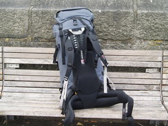 P20089240094	My rucksack on a bench by the Liffey in Dublin.