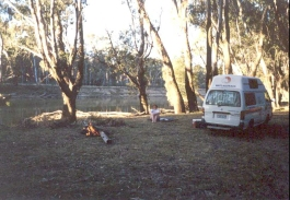 AG07	The campervan at the campsite beside the Murray River at Cobram.